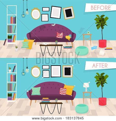 Living room furniture before and after cleaning. Home interior renovation. Flat design modern vector illustration concept.