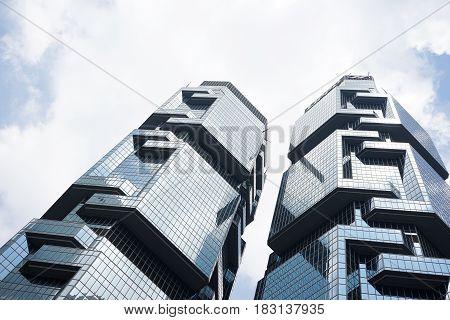 HONGKONG China. April 21 2017: Picture of two skyscraper buildings in Hong Kong