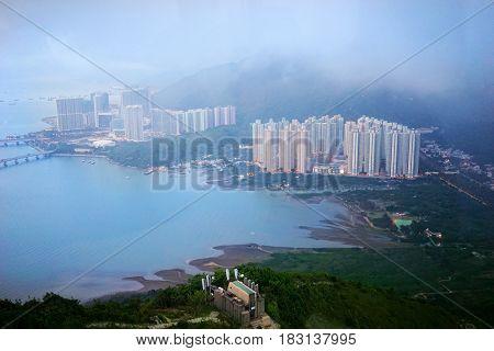 Beautiful landscape from Ngong Ping 360 cable car in Lantau Island Hong Kong