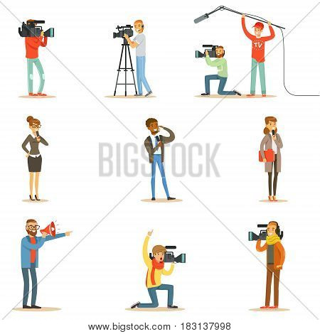 News Program Crew Of Professional Cameramen And Journalists Creating TV Broadcast Of Live Television Collection Of Cartoon Characters. People Working In TV Production Shooting Journalistic Materials And Reportages Series Of Vector Scenes.