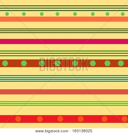 Striped and polka seamless pattern. Fashion graphic background design. Abstract texture. Colorful template for prints textiles wrapping wallpaper website etc. Vector illustration
