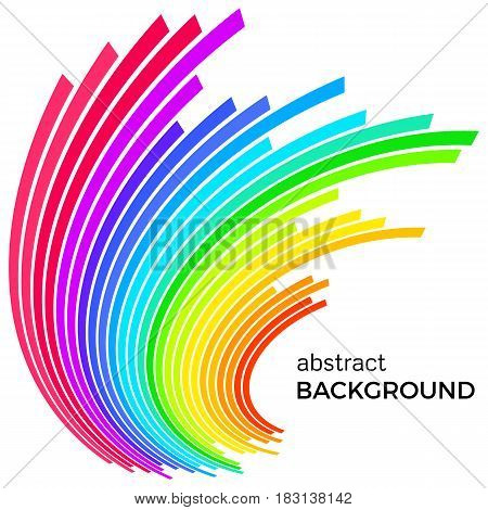 Abstract background with colorful rainbow lines. Colored circles with place for your text on a white background.