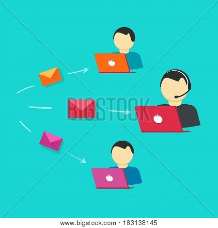 Customer support team vector illustration, flat style assistance operators with laptop computers receiving email messages as help desk tickets, online internet assistant service or system