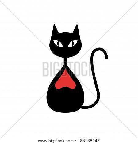 Vector logo beautiful cat with red heart, isolated illustration