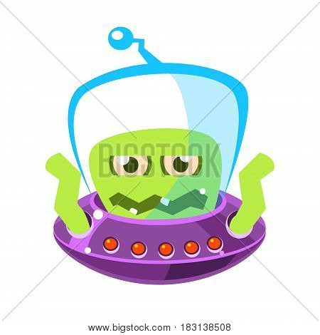 Wrathful emotional allien, cute cartoon monster. Colorful vector character isolated on a white background
