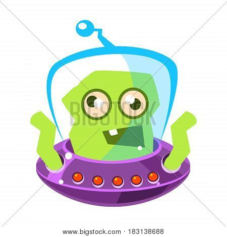 Furious green alien, cute cartoon monster. Colorful vector character isolated on a white background