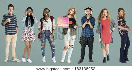 Group of Diverse Young Adult PeopleEnjoy Music Set Studio Isolated