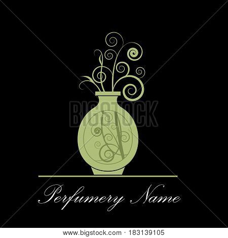 Vector abstract icon perfumery store on black