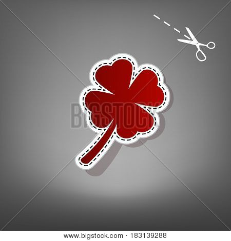 Leaf clover sign. Vector. Red icon with for applique from paper with shadow on gray background with scissors.