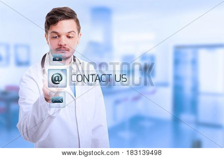 Medic Or Doctor Working With Futuristic Interface