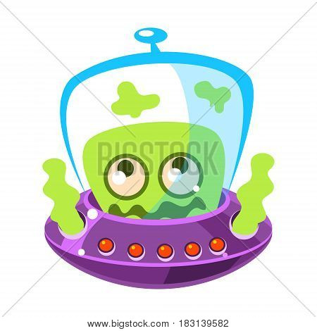 Shivering green alien, cute cartoon monster. Colorful vector character isolated on a white background