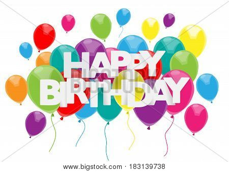 Vector happy birthday cover with text and balloons