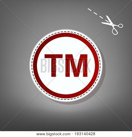 Trade mark sign. Vector. Red icon with for applique from paper with shadow on gray background with scissors.