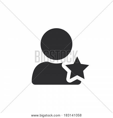 Favorite Account Symbol. User With Star Icon Vector, Solid Logo Illustration, Pictogram Isolated On