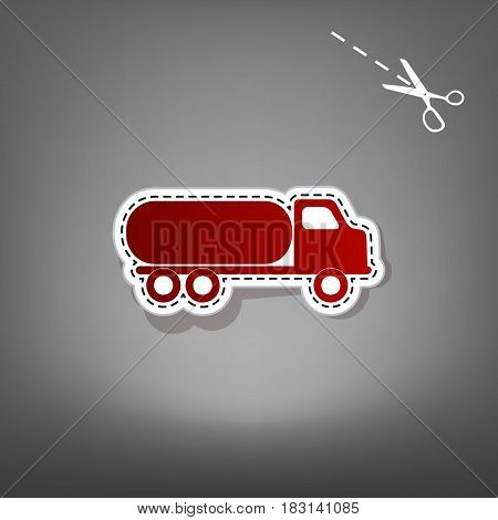Car transports sign. Vector. Red icon with for applique from paper with shadow on gray background with scissors.