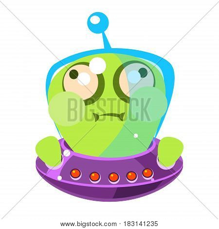 Inflated green alien in a flying saucer, cute cartoon monster. Colorful vector character isolated on a white background