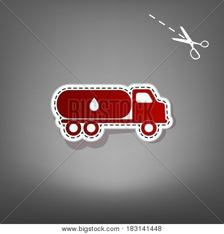Car transports Oil sign. Vector. Red icon with for applique from paper with shadow on gray background with scissors.