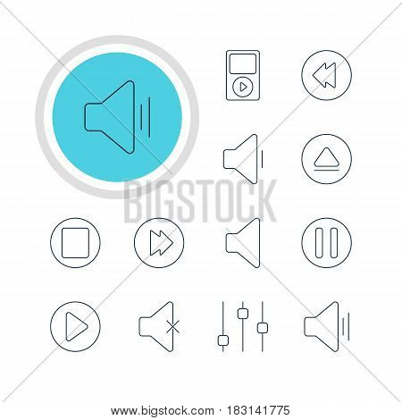 Vector Illustration Of 12 Melody Icons. Editable Pack Of Decrease Sound, Reversing, Stabilizer And Other Elements.