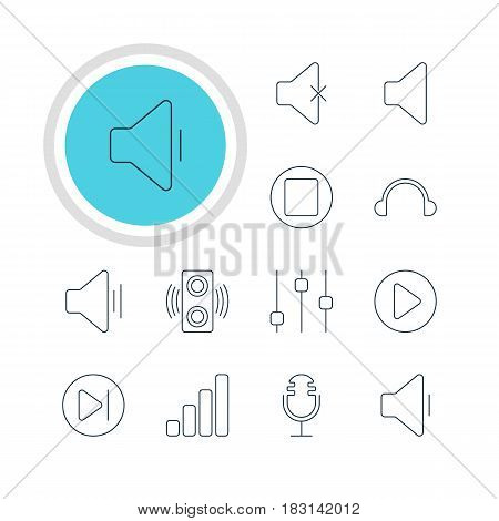Vector Illustration Of 12 Melody Icons. Editable Pack Of Subsequent, Decrease Sound, Stabilizer And Other Elements.