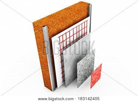 3d render thermal insulation of walls Renovation, Plaster, Fix, Location, Installation, Panels