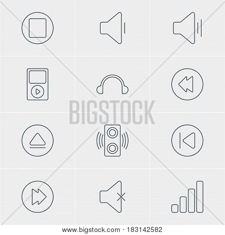 Vector Illustration Of 12 Music Icons. Editable Pack Of Pause, Preceding, Audio And Other Elements.