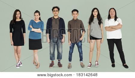 Group of Asian Adult People Set Studio Isolated