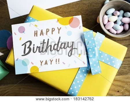 Birthday Present Gift  with Wishing Card Celebration Party