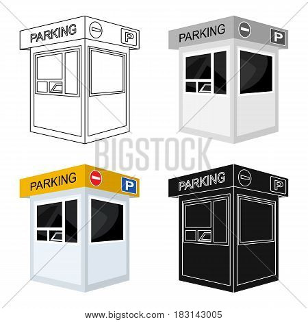Parking toll booth icon in cartoon design isolated on white background. Parking zone symbol stock vector illustration.