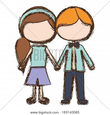 blurred colorful faceless caricature blond male hair and female side hairstyle with taken hands vector illustration