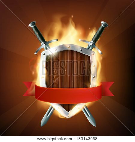 Coat of arms a wooden shield with swords and ribbon on fire. Stock vector illustration.