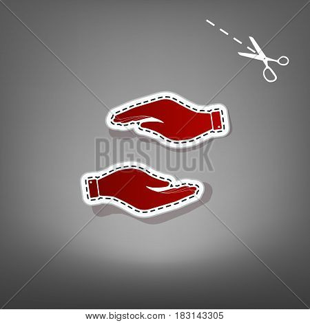 Hand sign illustration. Vector. Red icon with for applique from paper with shadow on gray background with scissors.