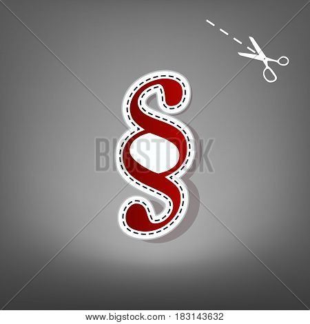 Paragraph sign illustration. Vector. Red icon with for applique from paper with shadow on gray background with scissors.