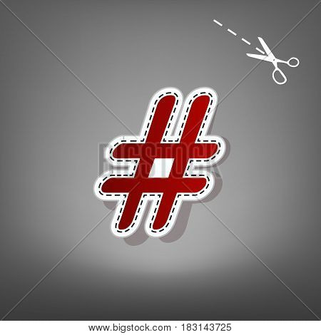 Hashtag sign illustration. Vector. Red icon with for applique from paper with shadow on gray background with scissors.