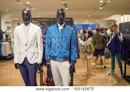 HONG KONG - MAY 05, 2015: inside a Zara store in Hong Kong