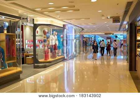 HONG KONG - MAY 05, 2015: inside a shopping center in Hong Kong. Hong Kong shopping malls are some of the biggest and most impressive in the world
