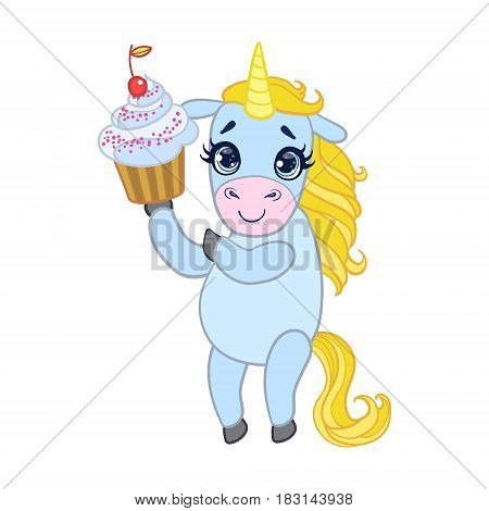 Cartoon light blue lovely unicorn holding cupcake. Colorful vector character isolated on a white background