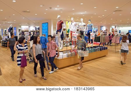 BANGKOK, THAILAND - JUNE 21, 2015: inside Uni Qlo store at a shopping center in Bangkok.