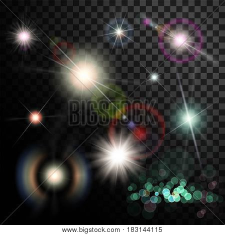 Set of glowing light effect. Star flash and spangles on transparent background. Stock vector illustration.