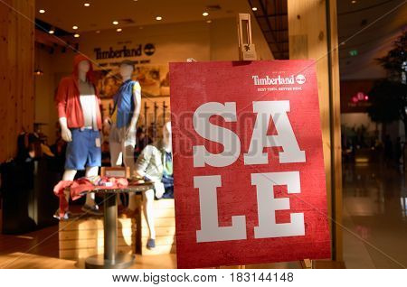 BANGKOK, THAILAND - JUNE 20, 2015: Timberland store at a shopping center in Bangkok.
