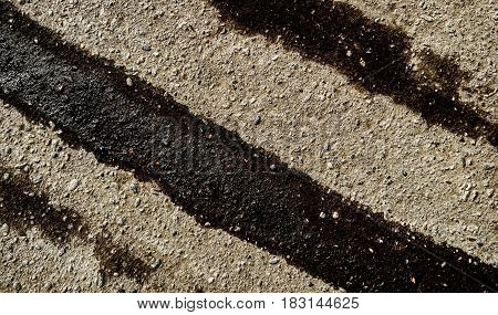 Asphalt, asphalt texture, wet asphalt background, after the rain, tire track, grunge asphalt, asphalt closeup