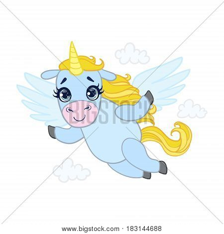 Cartoon light blue lovely flying unicorn. Colorful vector character isolated on a white background