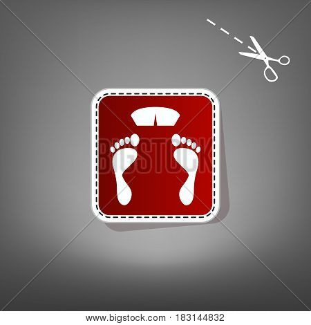 Bathroom scale sign. Vector. Red icon with for applique from paper with shadow on gray background with scissors.