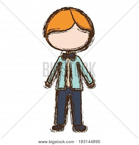 blurred colorful faceless caricature blonded man with formal suit vector illustration