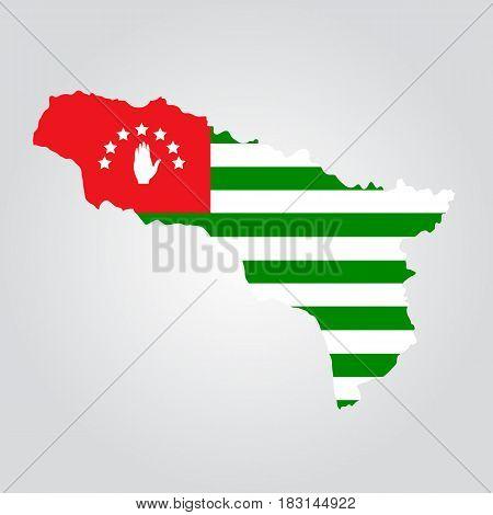Map and flag of Abkhazia. Republic of Abkhazia vector on white background