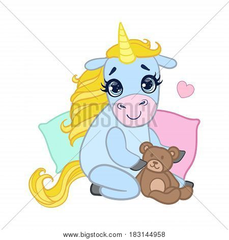 Cartoon light blue lovely unicorn sitting with a teddy bear. Colorful vector character isolated on a white background