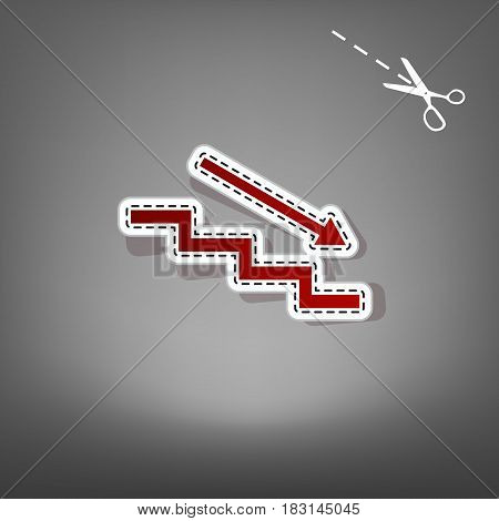 Stair down with arrow. Vector. Red icon with for applique from paper with shadow on gray background with scissors.