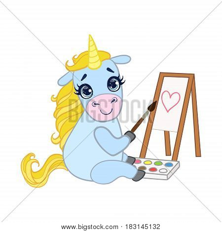 Cartoon light blue lovely unicorn painting on canvas. Colorful vector character isolated on a white background