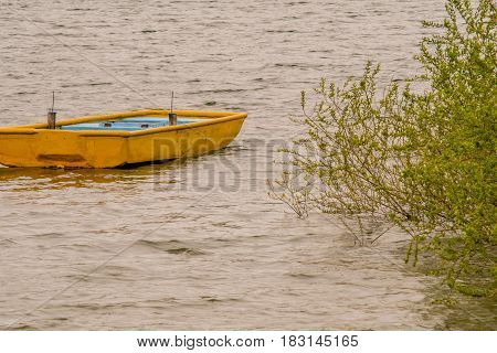 Small wooden yellow boat drifting in lake with choppy water with a lush green bush extending from the shore over the water