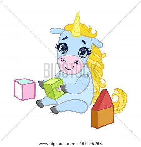 Cartoon light blue lovely unicorn playing with colored cubes. Colorful vector character isolated on a white background