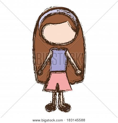 blurred colorful faceless caricature brown long hair girl with shirt and skirt vector illustration